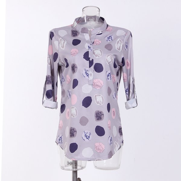 Mode Dot Casual Frauen Bluse Langarm lose grundlegende V-Ausschnitt 2018 Arbeitskleidung Blusen Shirts 5XL Tops T-Shirt Mujer WS6200Z