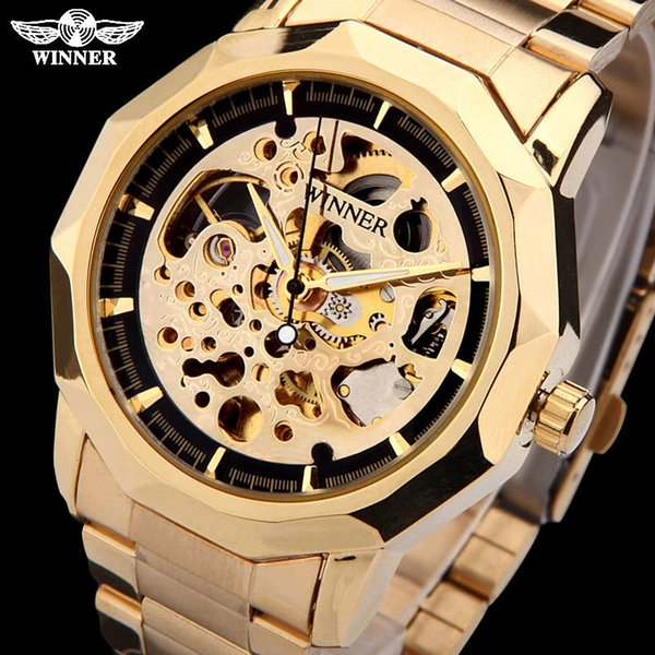 WINNER brand watches men mechanical skeleton wrist watches fashion casual automatic wind watch gold steel band relogio masculino S923
