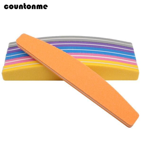 50Pcs Mix Color Nail File Sponge 100/180 Nail Art Polisher Block Moon Washable Double Side Buffer For Finger Polish UV Gel