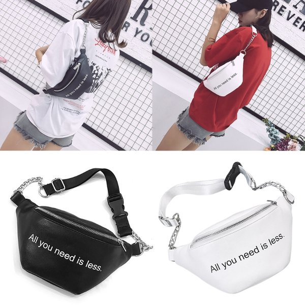 Moda para mujer Cintura Fanny Pack Punk Pecho Bum Bag Zip Pouch Hip Purse Travel