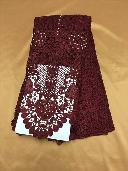 The latest red embroidery 3D dress, water-soluble bead lace, African French chiffon, high quality wedding dress 5yard/lot YDH23