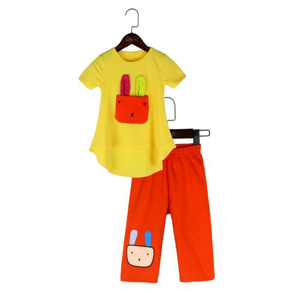 Mädchen Kleidung Sets 2018 Neue Sommer Cartoon Kaninchen Kurzarm T-shirt + Leggings Casual Kinder Anzug Kleinkind Mädchen Kleidung
