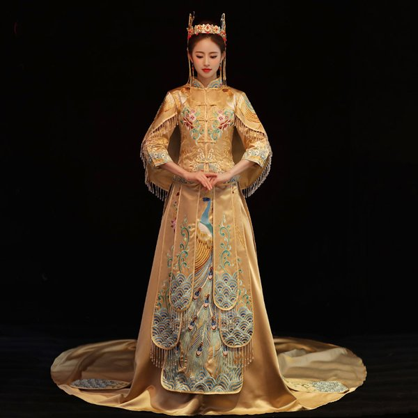 Embroidery Cheongsam Exquisite Asian Bride Wedding Trailing Dress Gown Lady Peacock Ancient Chinese Qipao SuZhou Toast Clothing