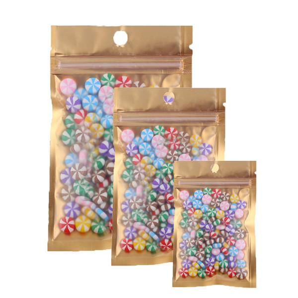 100pcs múltiples tamaños recerrables Clear / oro / plata Mylar Zip Lock paquete de alimentos bolsa de embalaje de almacenamiento de frijol de café con agujero de mano