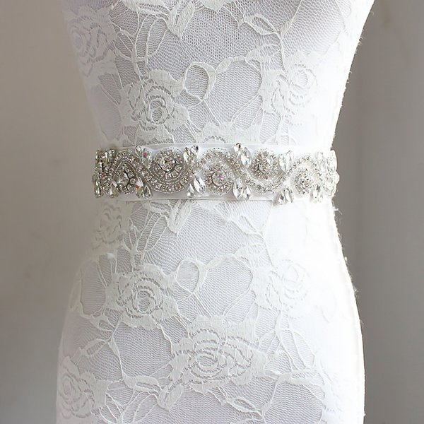 Nicely Glitter Girls rhinestones belt boutique children beaded rhinestones kids ribbon Bows crystal princess belt bridal wedding accessories