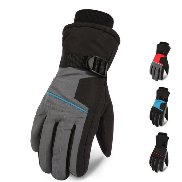 Winter Warm Mountain Snowboard Ski Gloves Men Thermal Fleece Cold Snow Gloves Skiing Mittens Waterproof Snowmobile Riding Bicycle Gloves