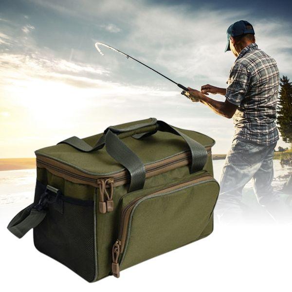 Multifunctional 600D Canvas Fishing Shoulder Bag Waterproof Outdoor Waist Shoulder Bag Case Reel Lure Storage Bags Fishing Tackle