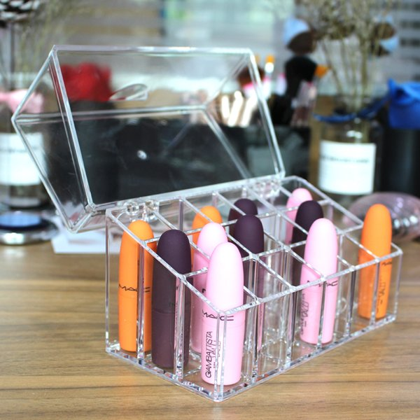 Makeup Organizer Clear Lipstick Storage Box 18 Slots Lip Gloss Organizer With Cover cosmetic organizer container Transparent