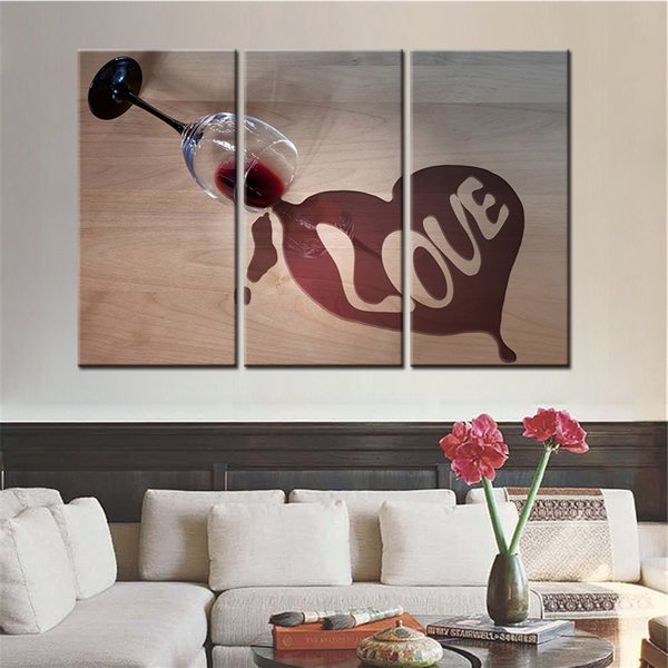 Modular Home Decor HD Prints Poster Canvas Pictures 3 Pieces Still Life Wine Glass Love Paintings Living Room Wall Art Framework