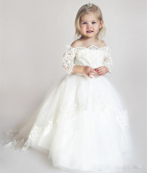 Lovely Ivory Princess Flower girls Dress For Wedding Lace applique Tull Skirt First cummunion Dress for toddler