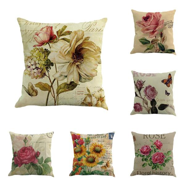 Klassische rose floral pflanze gedruckt kissenbezug hochwertige weiche kissen taille kissen kissenbezug für wohnkultur größe 45 * 45 cm