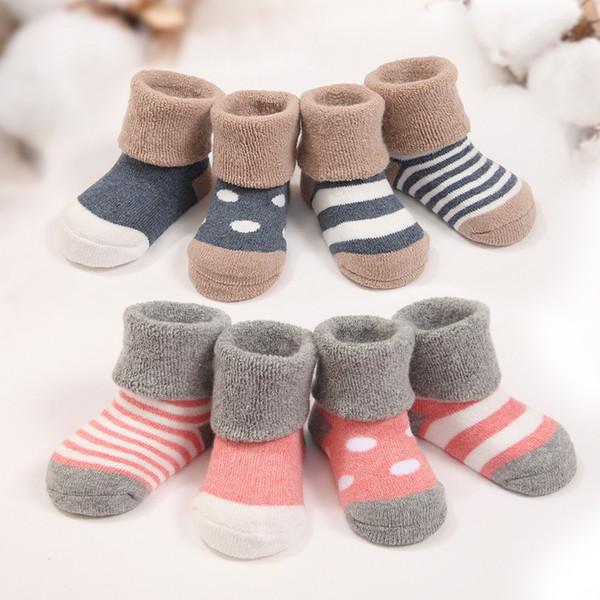 12 pares / lote inverno quente bebê meias bonito macio outono bebê recém-nascido meninas Meias Stripes Dots Baby Boy Shoe Socks
