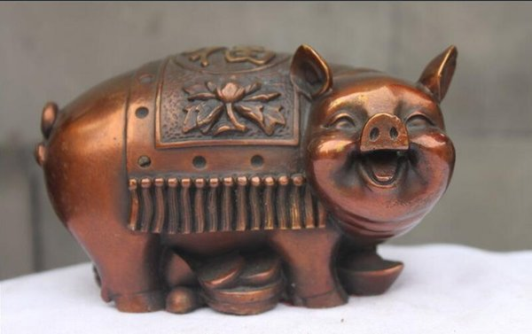China Red Bronze Copper Fengshui Zodiac Money Pig Attract Wealth Animal statue