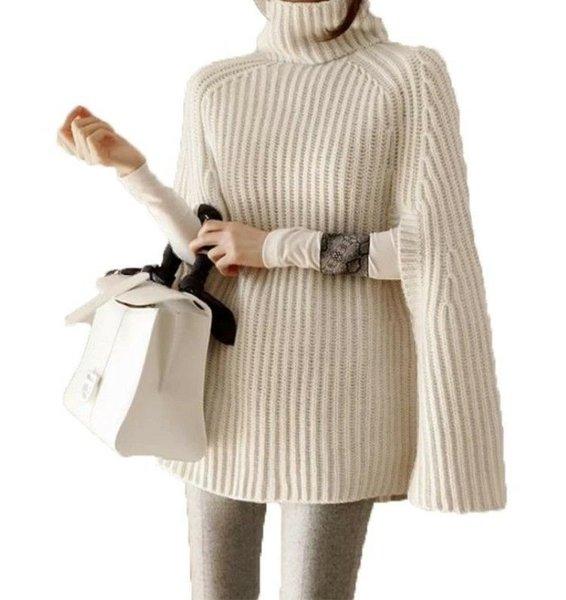 Neue Herbst Frauen Pullover Poncho Stehkragen Strickumhang Fledermausflügel Strickwaren Ponchos Pullover C3780