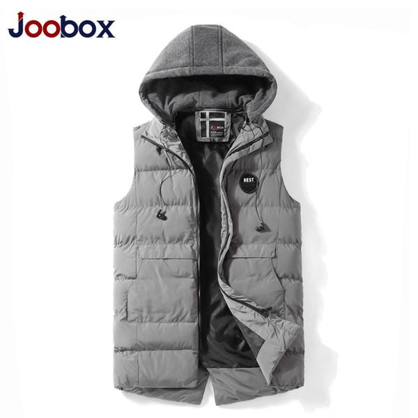 2018 Nuevo chaleco de los hombres chaleco sin mangas de invierno cálido grueso color sólido insignia Casual sin mangas para hombre más tamaño L-XXXL Outwear