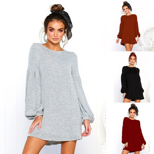 36bb3ad624 Sexy Casual Dress 2018 Women Mini Solid Color T-shirt Dress Skirts Autumn  Style Loose Sweater Women Lady Clothing 2018 New Plus Size