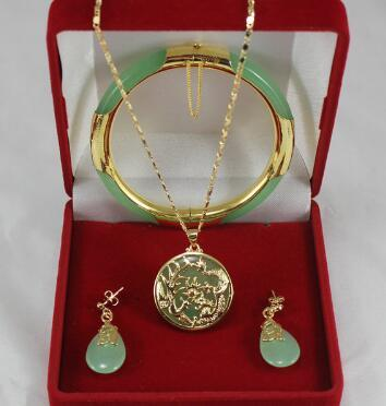 Free Shipping noble 7.5' light green Jades bracelet, earings, and gp dragon inlay pendant jewelry sets for party and wedding