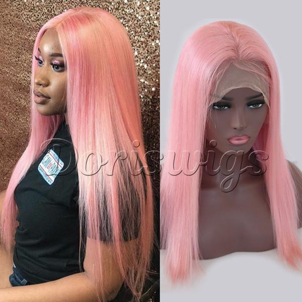 Großhandel Peruanische Light Pink Gerade Volle Spitze Echthaar Perücke 150 Dichte Glueless Lace Front Echthaar Perücken Pre Gerupft Von Doriswigs