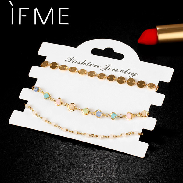 IF ME 3PCS Colorful Acrylic Beads Faux stone & Coin Sequins Charms Bracelets for Women Female Bohemia Boho Jewelry Gold-Color