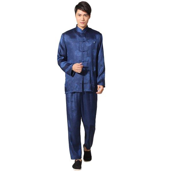 Terno de Kung Fu Chinês azul Marinho dos homens de Cetim Tai Chi Wu Shu Uniforme Do Vintage Roupas Dragão Tamanho S M L XL XXL XXXL MS022