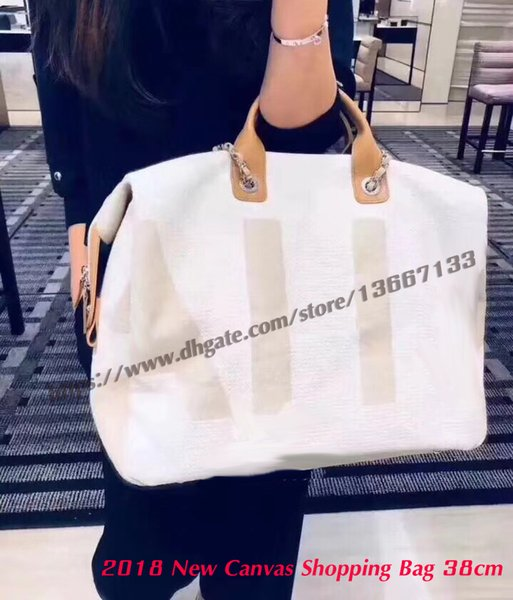 Top Quality 2018 New Design Blue Canvas Shopping Tote Handbag with Letter Printing 38cm Cream Tweed zipper Shoulder Bags Leather Chain