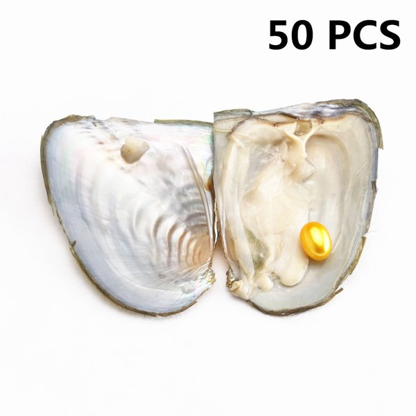 50 PCS Single Rice pearl In Freshwater Oysters Shell Oval Wish Hope Pearl Big Surprise Gift For women party DHL Free Shipping
