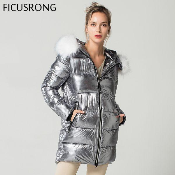 Elegant White Fur Collar Coat Winter Jacket Women Long Down Parkas Female Warm Hooded Jacket Coat Silver Gray 2018 New FICUSRONG S18101505