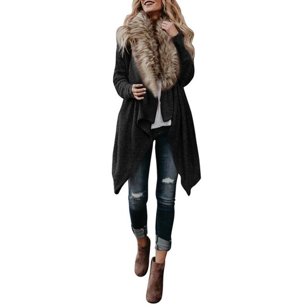 Feitong Winter Women Knitted Long Sleeve Tops Faux Fur Cardigan Sweaters Parka Outerwear Coat Jacket Sweater cardigan feminino