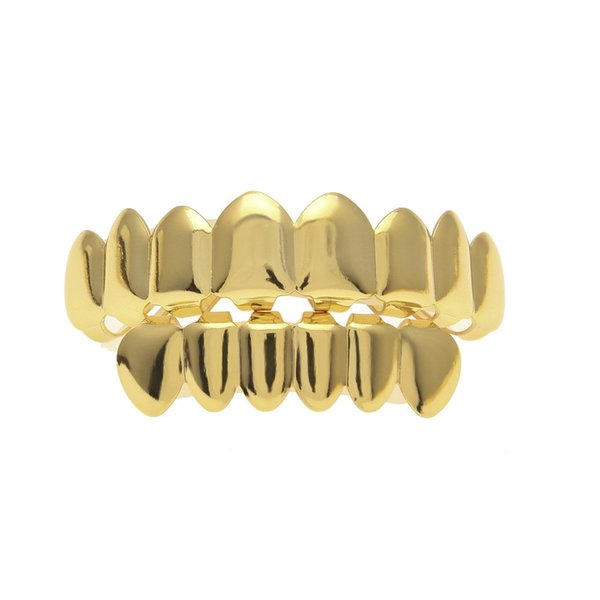 8 Tooth FREE SHIPPING REAL SHINY REAL GOLD PLACTING Top Bottom GRILLZ Bling Mouth Teeth Caps Hip Hop Grills KKA1978