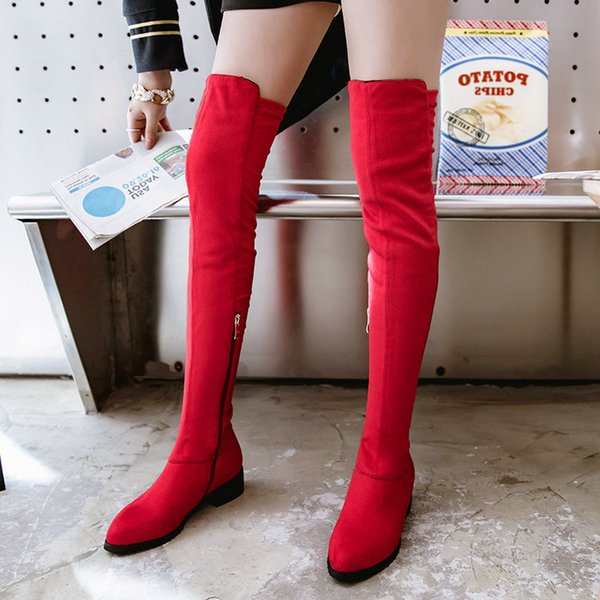 573df94b0fd0 Thigh High Flat Boots Women Over the Knee Boots Comfort Autumn Winter Faux  Suede Zipper Fashion
