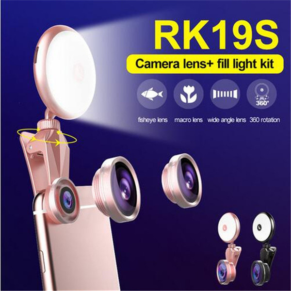 RK19S selfie LED phone lens Flash Light Beauty Phone Lens 360 Rotation 4 in 1 mobile lens For Iphone Android Smartphones free shipping