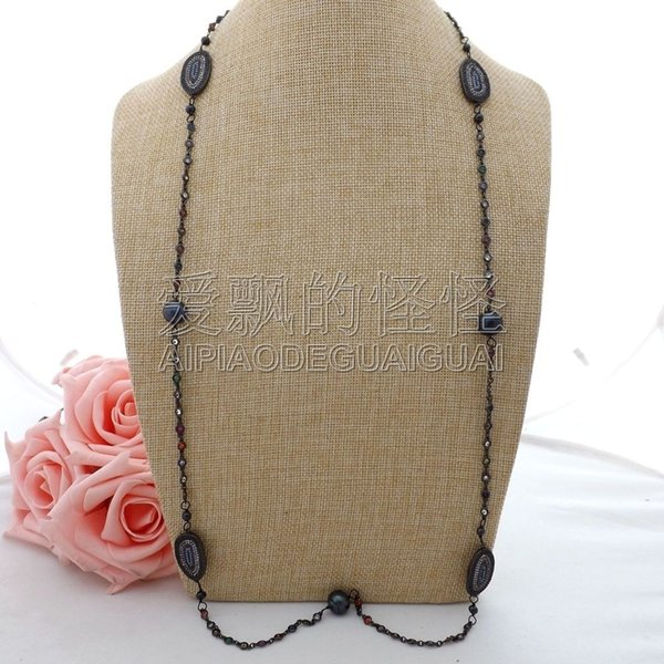 """N063003 38"""" Black Keshi Pearl Cz Pave Beads Long Chain Necklace"""