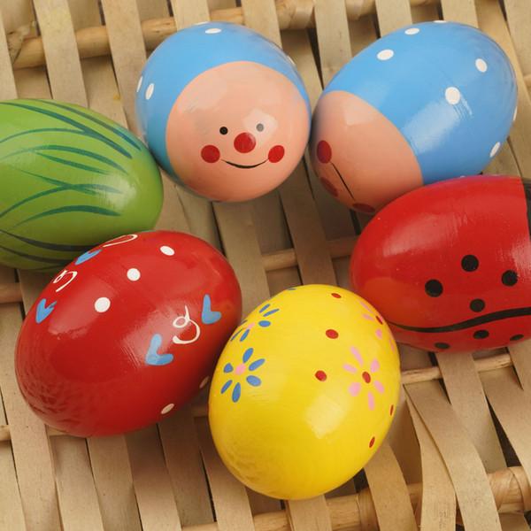 8 * 5CM Uova di Pasqua in legno Percussioni musicali Uovo di maracas Agitatori per bambini Giocattoli per bambini - Colori assortiti
