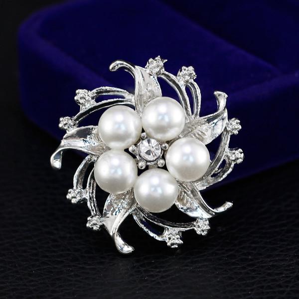 Popular Clear Rhinestone Flower Imitate Pearl Brooch Pin Jewelry Women For Wedding Party