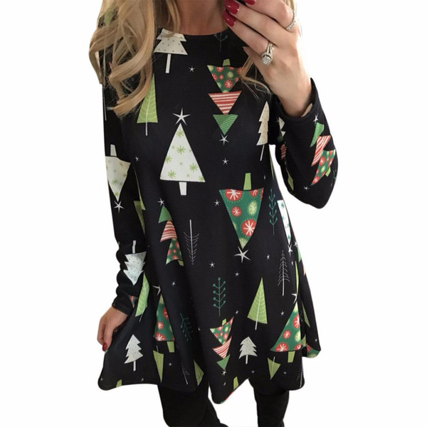2017 Women Christmas Dresses Autumn Winter Long Sleeve O-Neck Christmas Trees Print Casual Female Party Girl Mini Dress Vestidos