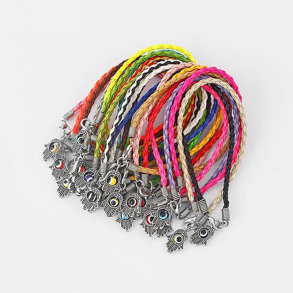 Dropshipping 20pcs Palm Hamsa Turkish Eye Colorful Braided Leather Cord Bracelets Bangle Kabbalah Lucky Eye Charm Amulet Jewelry