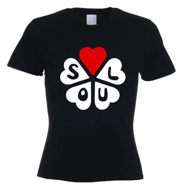 SOUL HEARTS WOMENS T-SHIRT - Kuzey Motown Mod Stax - XL Boyutları