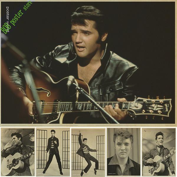 Rock star de la musique elvis Presley affiche décoration de noël décoration de fête maison décorations autocollant affiche vintage