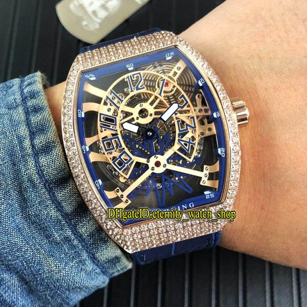 Brand VANGUARD YACHTING GRAVITY V45 T GR YACHT SQT Blue Skeleton Dial Automatic Mens Watch Rose Gold Diamond Case Rubber Strap Sport Watches