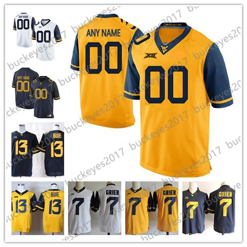 Custom West Virginia Mountaineers College Football #7 Grier 8 Joseph 13 Buie 19 Bowen 79 Jones Stitched Any Name Number cheap Jersey S-3XL