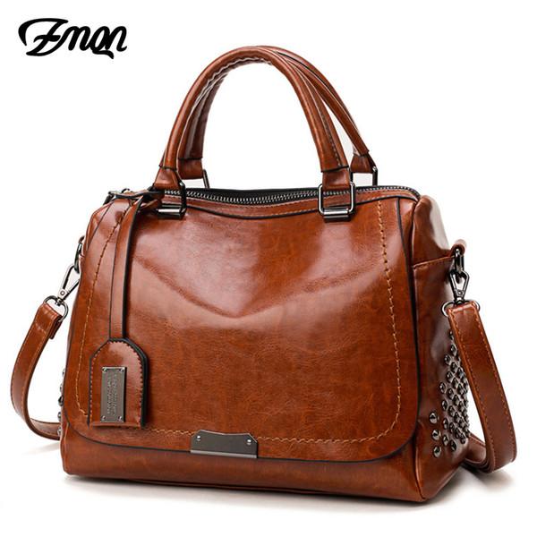 2019 ZMQN Women Handbags For 2018 Shoulder Bags Female Cheap Leather Handbags Women Famous Brands Rivet Crossbody Bags Kabelka C639