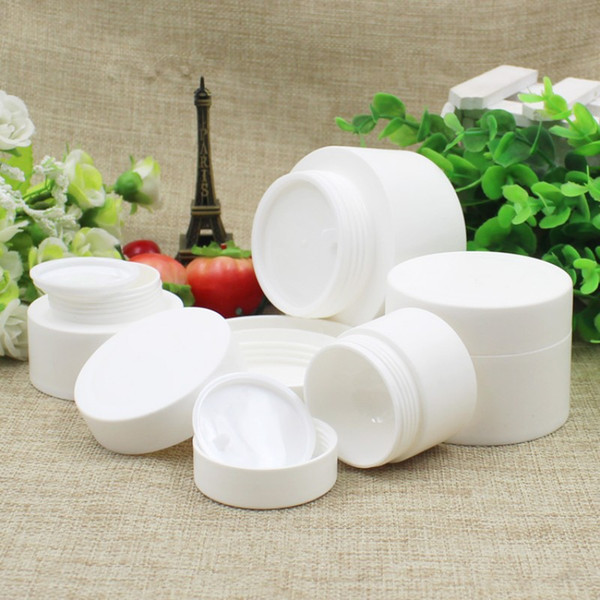 30 50 80ML White Plastic Jar with Screw Lid Inner Liner Refillable Make-up Cosmetic Jars Empty Face Cream Lip Balm Lotion Storage Container