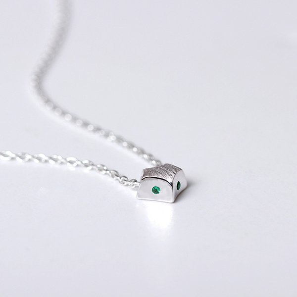 Charms 925 Sterling Silber Korean süße Schmuck Zeichnung zugunsten Fuchs Anhänger Halskette Halskette Türkis grün Modeschmuck Geschenk Frauen Kette