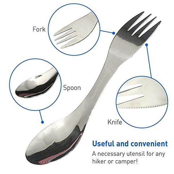 top popular 500PCS Stainless Steel Portable 3in1 Spork Spoon Knife Fork Cutlery Utensil Tableware Outdoor Camping Picnic Gadget 2019