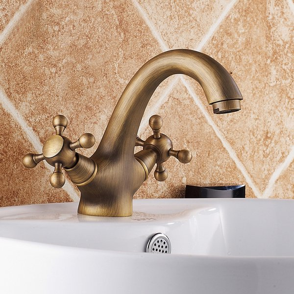 Basin Faucets Antique Brass Brush Copper Bathroom Faucet Basin Tap Rotate Single Handle Hot and Cold Water Mixer Taps Daily Use Faucets