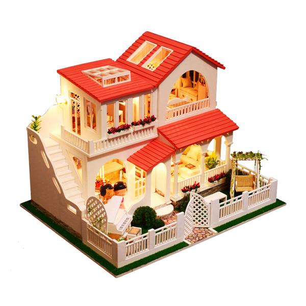 Acheter Iie Create Diy Maison De Poupee Rose Dream Casa Maison Miniature Maison De Poupee Jouets En Bois Pour Enfants Chambre Decoration Pour Enfants