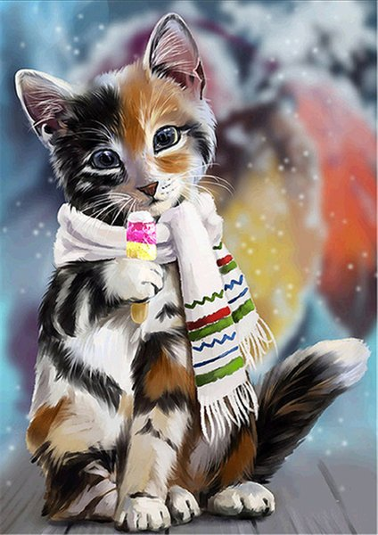 2019 Diamond Embroidery Animal Cat Eats Ice Cream Diy Diamond Painting Cross Stitch Kit Resin Full Round Diamond Mosaic Home Decoration Yx4245 From