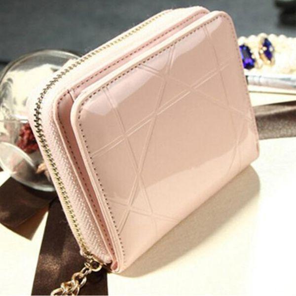 Großhandel Lackleder Damen Brieftaschen Weibliche Kleine Brieftaschen Mini Reißverschluss Geldbörse Für Frauen Kurze Geldbörse Halter Kupplung Mädchen