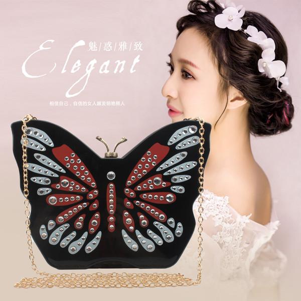 2018 nuova moda cartoon farfalla lady bella in muratura a catena tracolle frizione cosmetici ragazza sacchetto acrilico crossbody borse