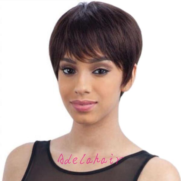 Humano curto preto perucas Africano americanos melhores perucas de cabelo humano brasileiro Pixie corte curto cabelo humano glueless perucas para as mulheres negras